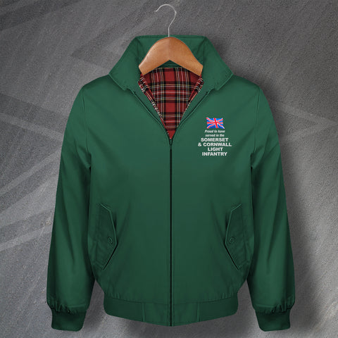 Proud to Have Served in The Somerset and Cornwall Light Infantry Embroidered Classic Harrington Jacket