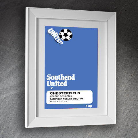 Southend Football Framed Print Programme Southend vs Chesterfield 1974