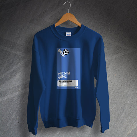 Southend Football Sweatshirt Programme Southend vs Chesterfield 1974