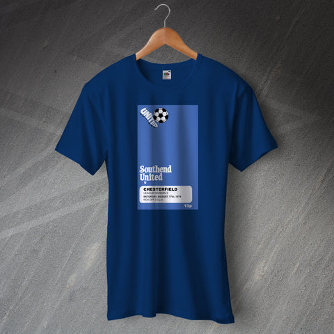 Southend Football T-Shirt Programme Southend vs Chesterfield 1974