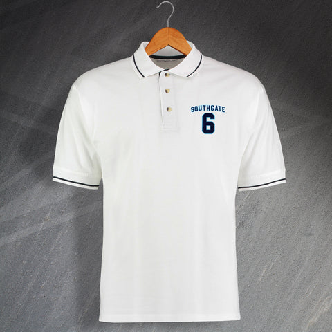 England Football Polo Shirt Embroidered Contrast Southgate 6