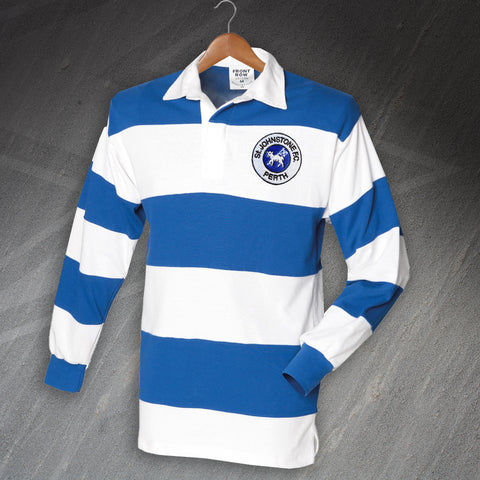 St Johnstone Football Shirt Embroidered Long Sleeve Hooped 1905