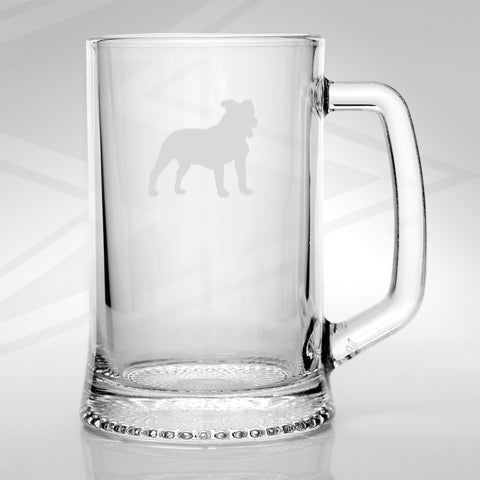 Staffordshire Bull Terrier Glass Tankard Engraved