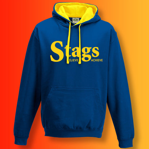 Stags Contrast Hoodie with Believe & Achieve Design