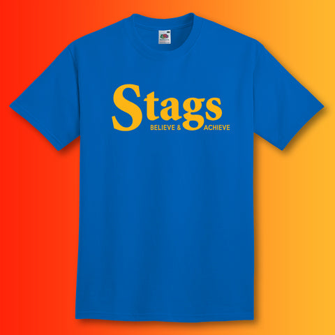 Stags Shirt with Believe & Achieve Design Royal Blue