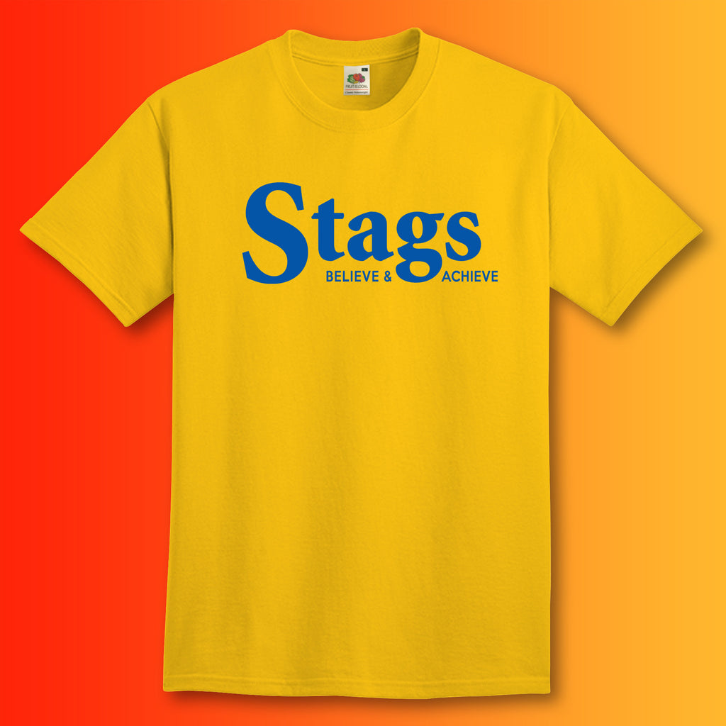 Stags Shirt with Believe & Achieve Design Sunflower