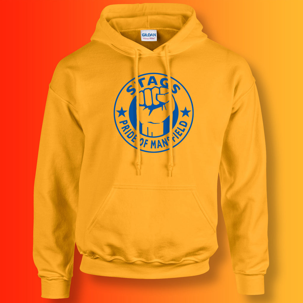 Stags Hoodie with The Pride of Mansfield Design Gold