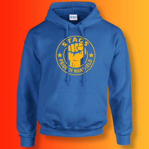 Stags Hoodie with The Pride of Mansfield Design Royal Blue