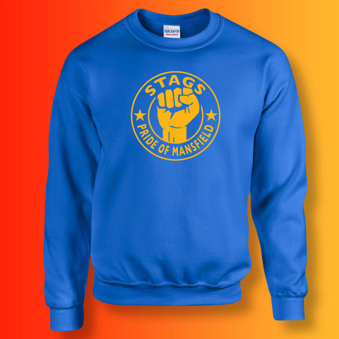 Stags Sweater with The Pride of Mansfield Design Royal Blue