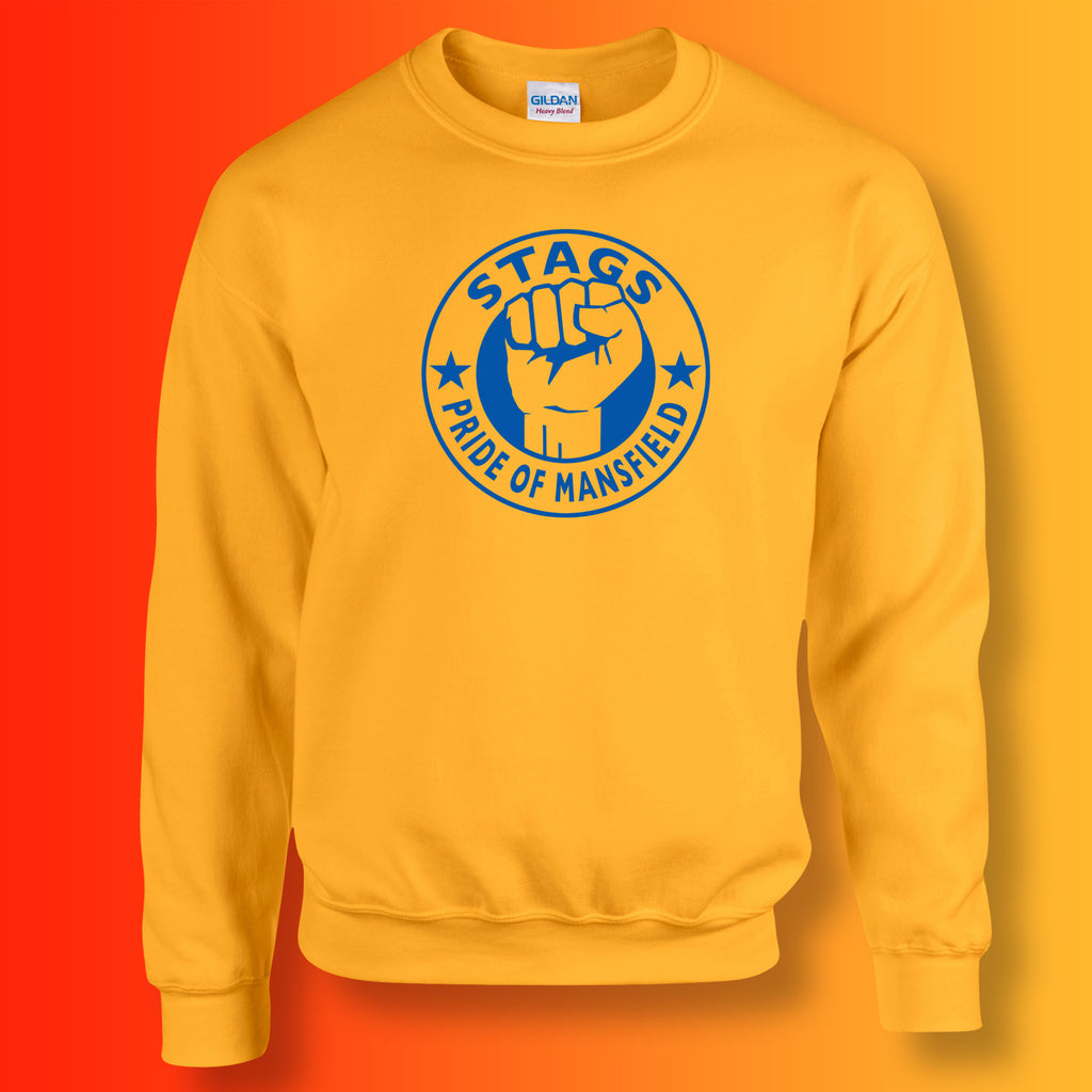 Stags Sweater with The Pride of Mansfield Design Gold
