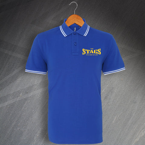 The Stags It's a Way of Life Embroidered Tipped Polo Shirt