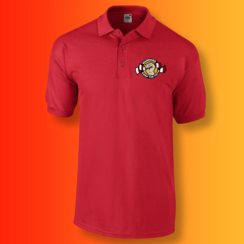Warriors Polo Shirt with Keep The Faith Design Red