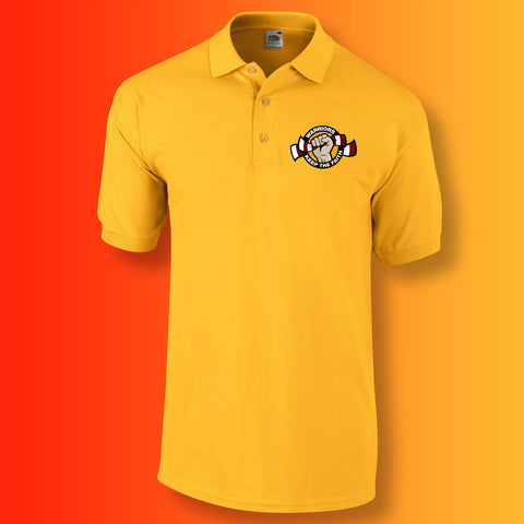 Warriors Polo Shirt with Keep The Faith Design Gold