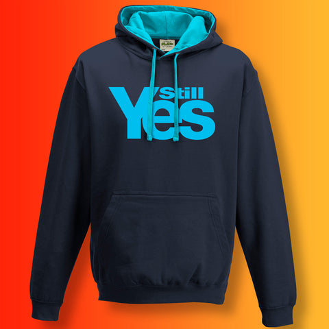 Scotland Still Yes Unisex Contrast Hoodie Navy Hawaiian Blue