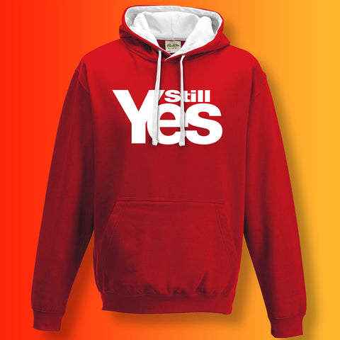 Scotland Still Yes Unisex Contrast Hoodie Red White