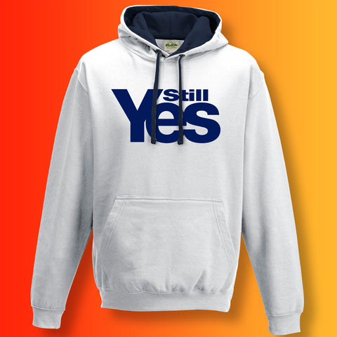 Scotland Still Yes Unisex Contrast Hoodie White Navy