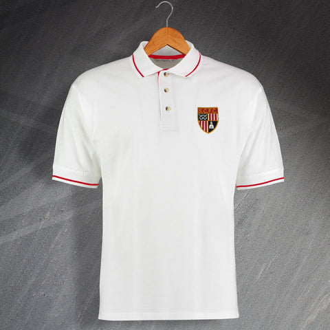 Stoke Football Polo Shirt Embroidered Contrast 1977