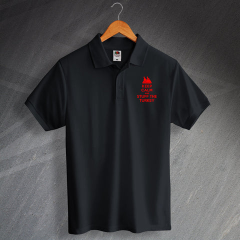 Christmas Polo Shirt Embroidered Keep Calm and Stuff The Turkey