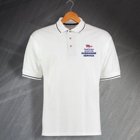Proud to Have Served In The Submarine Service Embroidered Contrast Polo Shirt