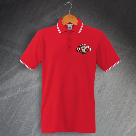 Sunderland Football Polo Shirt Embroidered Tipped Black Cats Keep The Faith