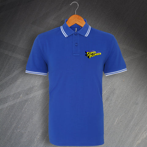 Plumber Polo Shirt Embroidered Tipped Super Plumber