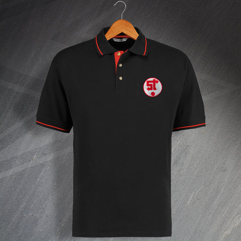 Swindon Football Polo Shirt Embroidered Contrast 1981