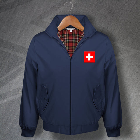 Switzerland Harrington Jacket Embroidered Flag of Switzerland