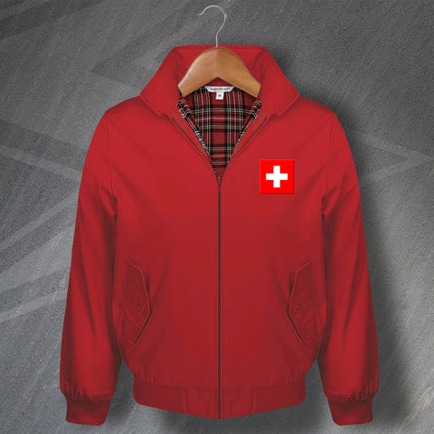 Switzerland Football Harrington Jacket Embroidered Flag of Switzerland