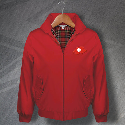Switzerland Football Harrington Jacket Embroidered Flag Map
