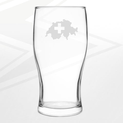 Switzerland Pint Glass Engraved Flag Map