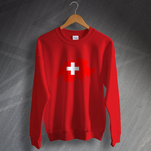Switzerland Football Sweatshirt Flag Map