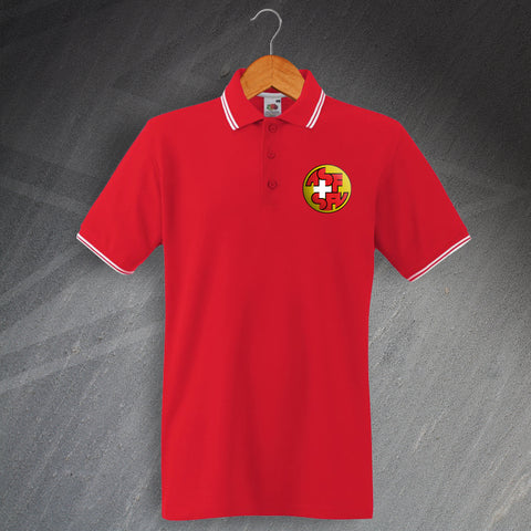 Switzerland Football Polo Shirt Embroidered Tipped 1990