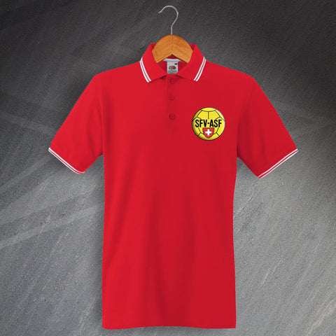Switzerland Football Polo Shirt Embroidered Tipped 1940