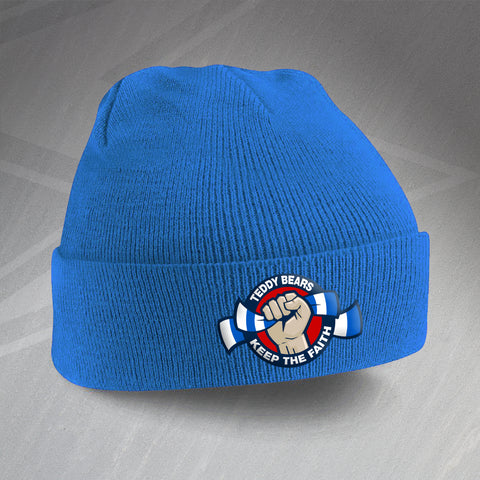Rangers Football Beanie Hat Embroidered Teddy Bears Keep The Faith