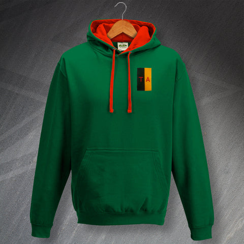 Territorial Army Hoodie Embroidered Contrast Colours & Lettering