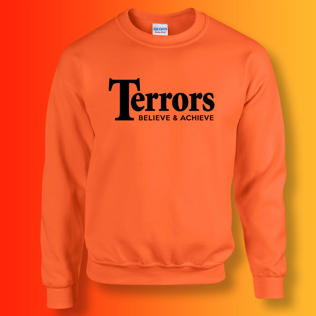 Terrors Sweater with Believe & Achieve Design Orange