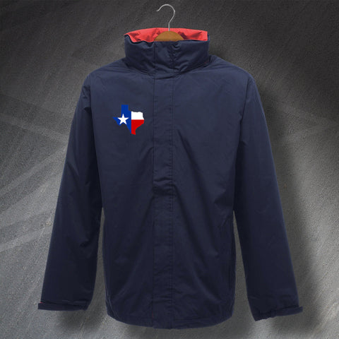Texas Waterproof Jacket with Embroidered State Shaped Flag