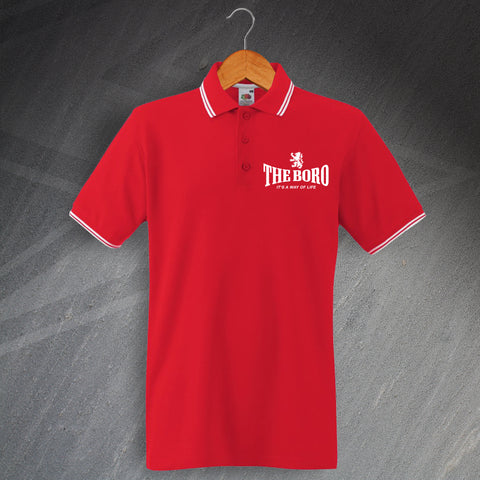Middlesbrough Football Polo Shirt Embroidered Tipped The Boro It's a Way of Life