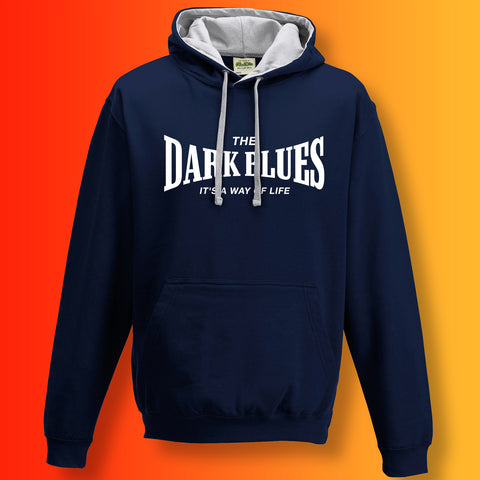 The Dark Blues Contrast Hoodie with It's a Way of Life Design