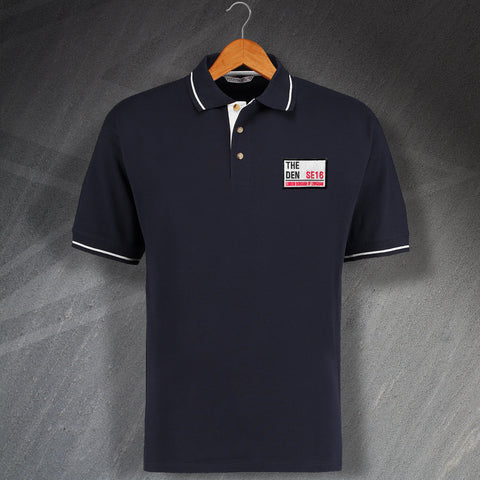 Millwall Football Polo Shirt Embroidered Contrast The Den SE16