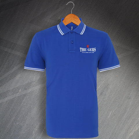 Rangers Football Polo Shirt Embroidered Tipped The Gers It's a Way of Life