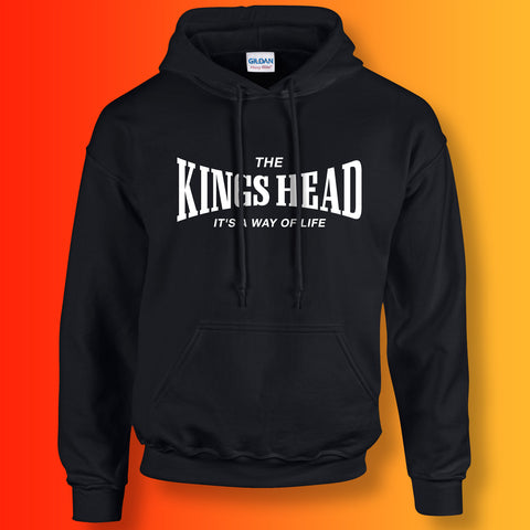 Kings Head Hoodie with It's a Way of Life Design Black