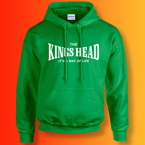 Kings Head Hoodie with It's a Way of Life Design Irish Green