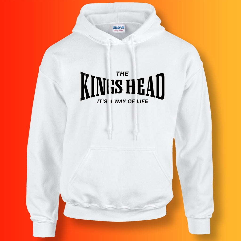 Kings Head Hoodie with It's a Way of Life Design White
