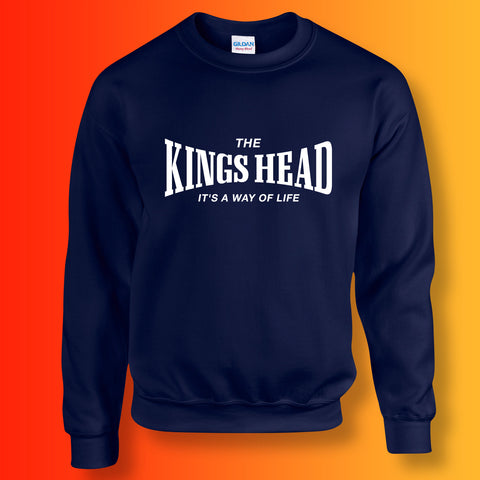Kings Head Sweater with It's a Way of Life Design Navy