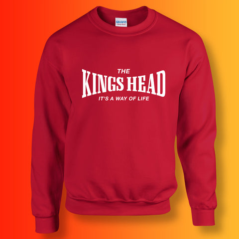 Kings Head Sweater with It's a Way of Life Design Red