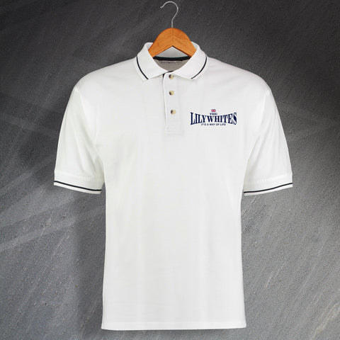 Tottenham Football Polo Shirt Embroidered Contrast The Lilywhites It's a Way of Life