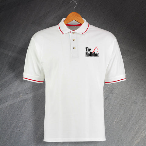 Fishing Polo Shirt Embroidered Contrast The Rodfather