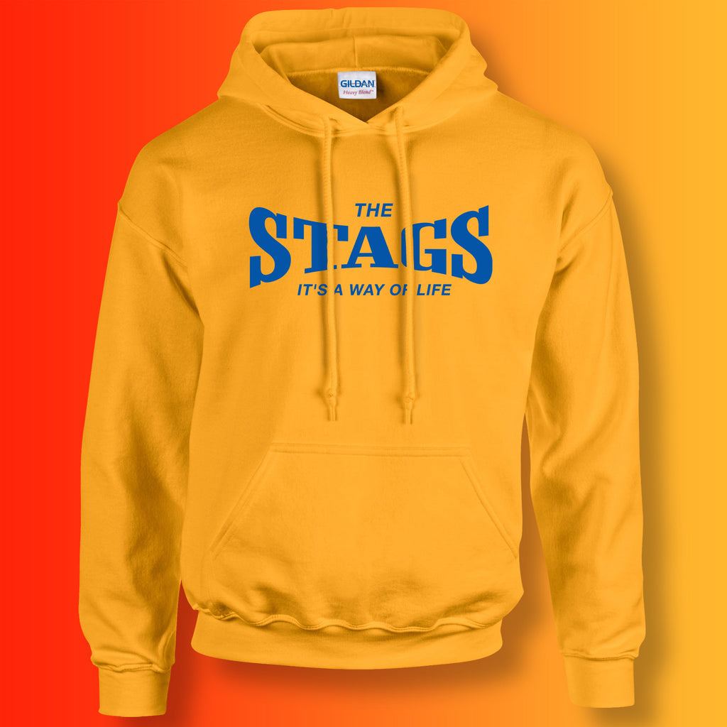 Stags Hoodie with It's a Way of Life Design Gold