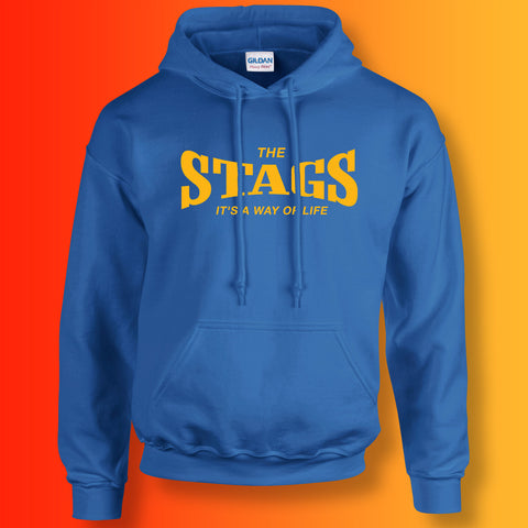 Stags Hoodie with It's a Way of Life Design Royal Blue